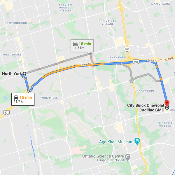 Direction from North York to City Chevrolet Cadillac Buick GMC dealership