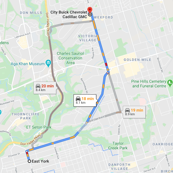 Direction from East York to City Chevrolet Cadillac Buick GMC dealership