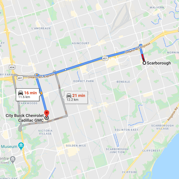Direction from Scarborough to City Chevrolet Cadillac Buick GMC dealership