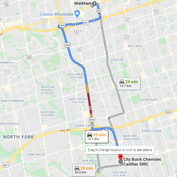 Direction from Markham to City Chevrolet Cadillac Buick GMC dealership